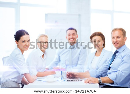 business and office concept business team having meeting in office