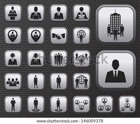 Business and office people, management, human resources icons buttons set on metal plates. raster version, vector file also available in gallery