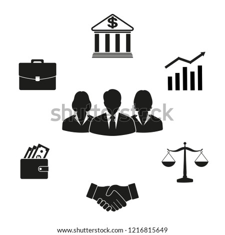 Business and office people, management, human resources icons set on white background