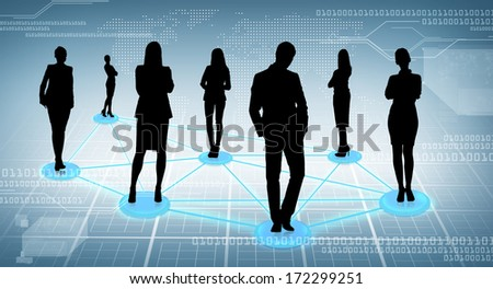 business and social concept - social or business network, black silhouettes of businesspeople