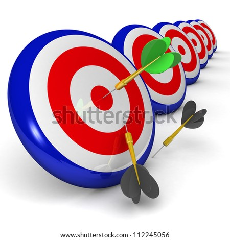 Business and Sports concept with 3d darts in bullseye. Dart Hitting A Target, Isolated On White Background