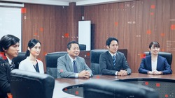 Business and technology concept. Group of asian businessperson.