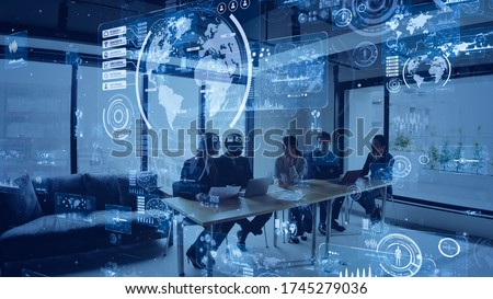 Business and technology concept. Smart office. GUI (Graphical User Interface).