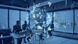 Business and technology concept. Smart office. IoT (Internet of Things). Telecommunication.