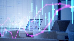 Business and technology concept. Stock chart. Financial technology. Fintech.