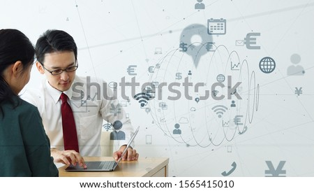 Business and technology concept. Waiting on customers. Salesman and customers in office.