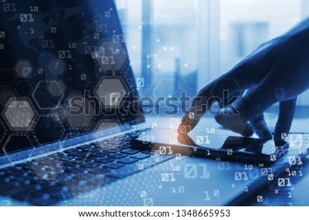 Business and technology, software development, IoT concept. Man programmer, coding software developer working mobile apps on mobile phone and laptop computer with binary on virtual screen #1348665953