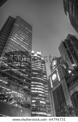 Architecture Buildings Skyscrapers At Night In Black And White
