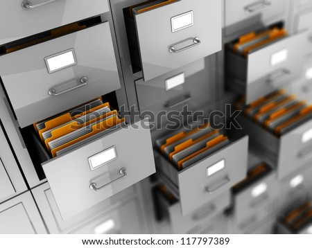 Business archive in folders, 3d illustration
