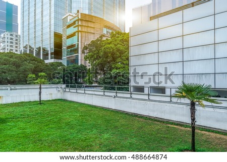 business area and green lawn,shanghai,china. #488664874