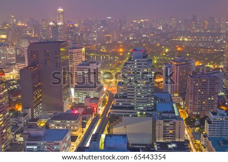 Business area at night,bangkok,thailand