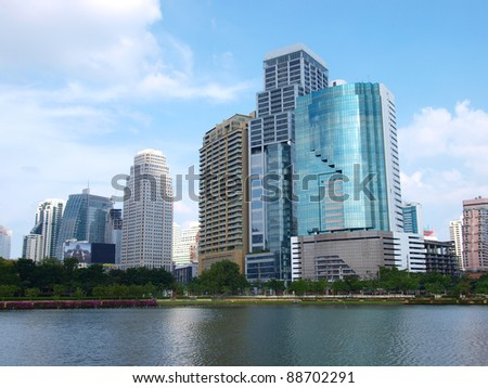 Business area buildings of Bangkok, Thailand