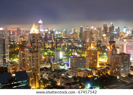 business area with high building at dusk, Bangkok, Thailand