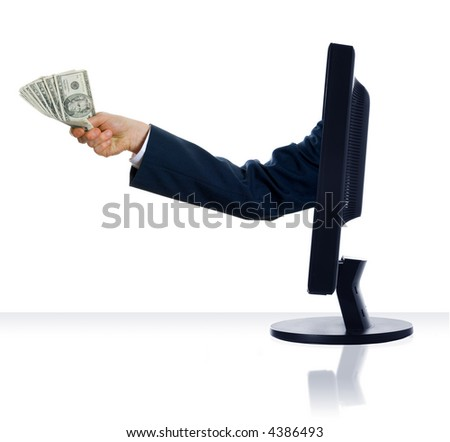 business arm sticking out of a computer monitor