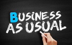 Business as Usual text on blackboard, business concept background