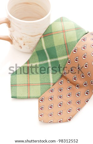 Business Attire Ties with coffee cup - stock photo