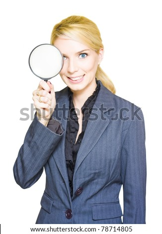 Business Audit And Competitor Or Competition Analysis Concept See A Business Woman Holding A Spy Glass Or Magnifying Glass In A Search Mission Of Discovery