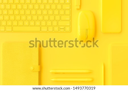Business background  and minimal idea concept. notebook, smartphone, keyboard, tablet with pen yellow color and mouse on desk in office. 3D Render.