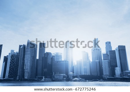 business background, beautiful abstract blue cityscape with skyscrapers and copyspace #672775246