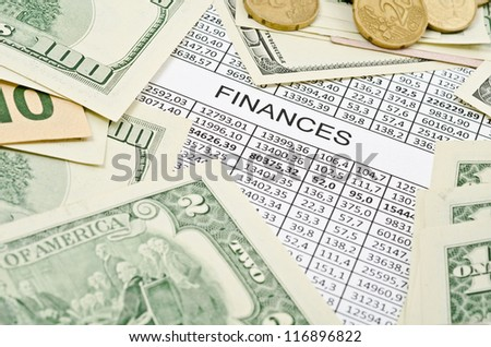 Business background, financial data concept with numbers and money - stock photo