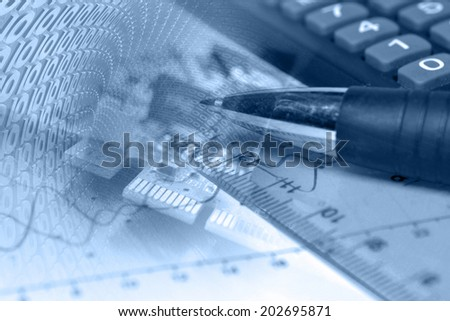 Business background in blues with electronic device and digits.