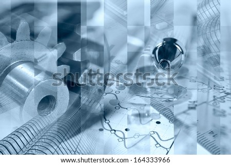 Business background in blues with electronic device and graph. - stock photo