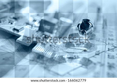 Business background in blues with electronic device and graph.