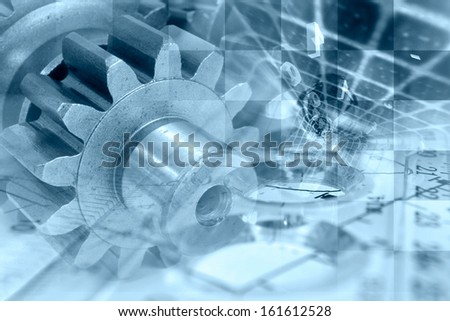 Business background in blues with gear and digits.
