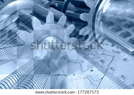 Business background in blues with graph, gear and buildings.