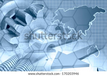 Business background in blues with map, gear and buildings.