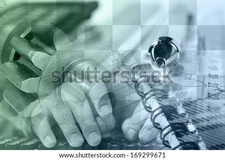 Business background in greens and blues with hands, graph and gears. - stock photo