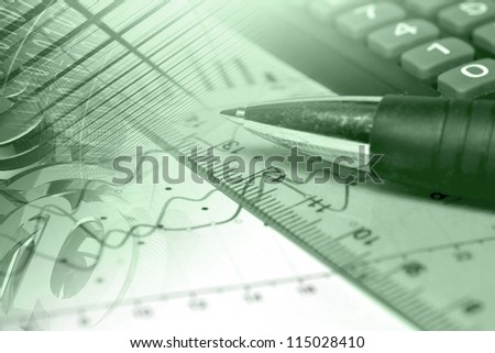 Business background in greens with graph, ruler, pen, buildings and calculator.