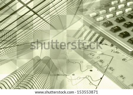 Business background in sepia with buildings, calculator and graph.