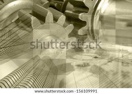 Business background in sepia with office buildings and gears.