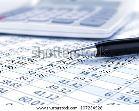 Business background, market analysis concept with financial data, pen and calculator