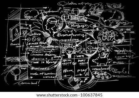 Business background on blackboard.