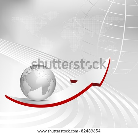 Business background with arrow, 3d globe and dotted world map - abstract gray corporate design
