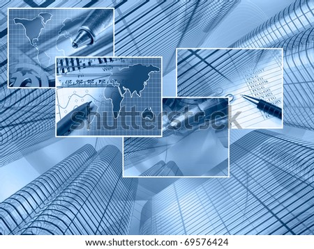 Business background with buildings and pictures.