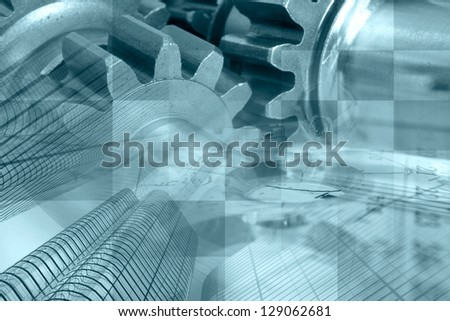 Business background with buildings, gear and table, in blues.