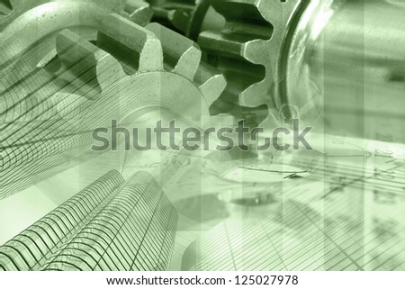 Business background with buildings, gears and graph, in greens.