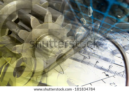 Business background with gears and mail signs.