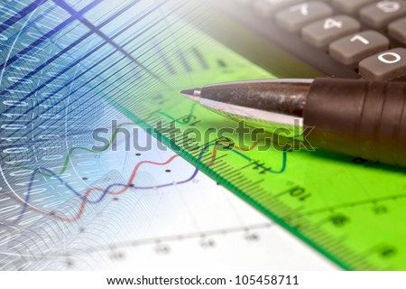 Business background with graph, ruler and pen.