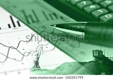 Business background with graph, ruler, pen and calculator, collage in greens.