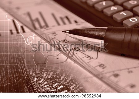Business background with graph, ruler, pen and calculator, collage in reds.