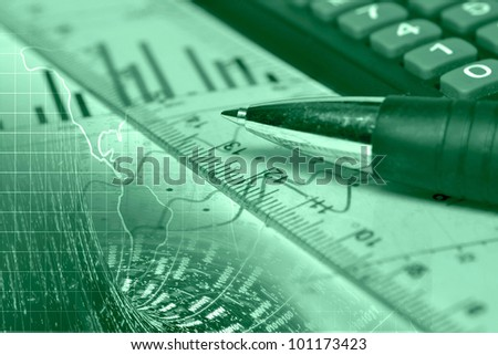 Business background with graph, ruler, pen and calculator, in greens.