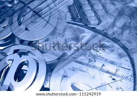Business background with graph, ruler, pen, buildings and calculator, in blues.