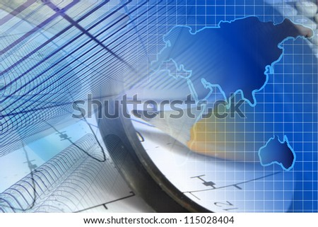 Business background with graph, ruler, pencil, buildings and magnifier.