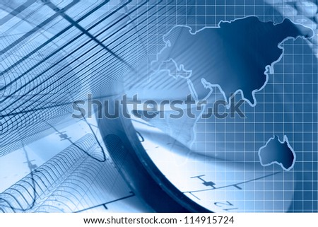 Business background with graph, ruler, pencil, buildings and magnifier, in blues.