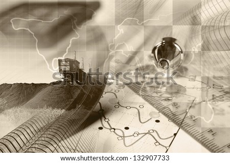 Business background with map, graph and buildings, sepia toned.