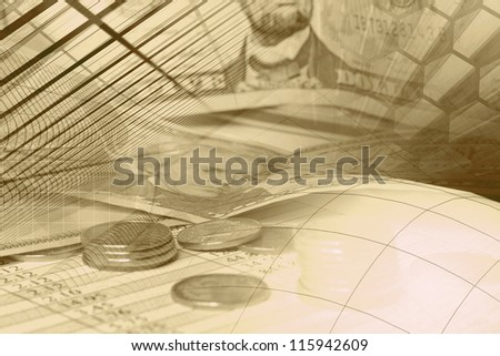 Business background with money, table and pen, sepia.